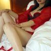 Mississauga escort wearing red and black bra and panties