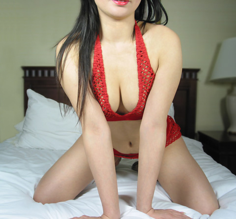 North York escort in back and red outfit